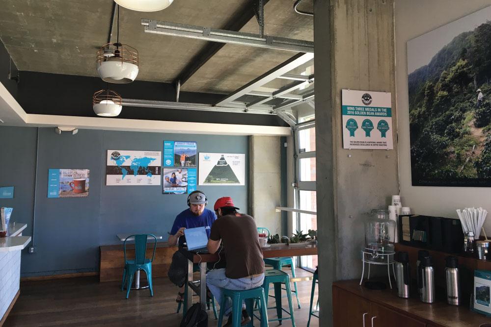 branded artwork inside cafe